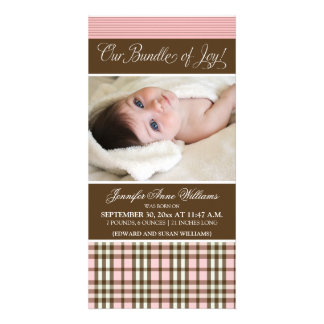 Preppy Plaid Birth Announcement (pink)