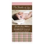 Preppy Plaid Birth Announcement (pink) Custom Photo Card