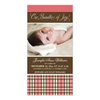 Preppy Plaid Birth Announcement (rose)
