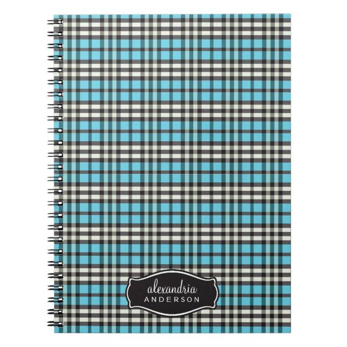 Preppy Plaid Custom Notebook (black/aqua)