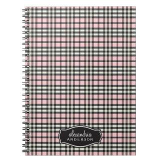 Preppy Plaid Custom Notebook (black/pink)