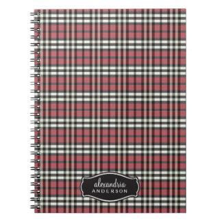 Preppy Plaid Custom Notebook (black/red)