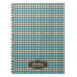 Preppy Plaid Custom Notebook (chocolate/aqua)