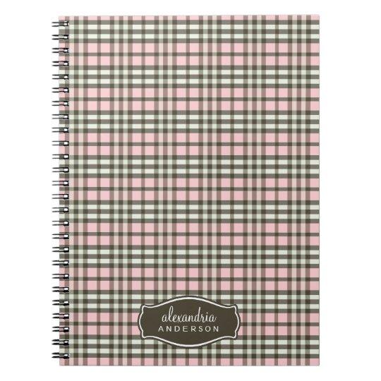 Preppy Plaid Custom Notebook (chocolate/pink)