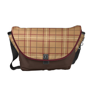 Preppy Plaid Pattern Tan and Brown Commuter Bag