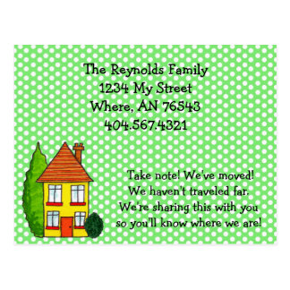 Preppy Polka Dot House New Address Moving Card