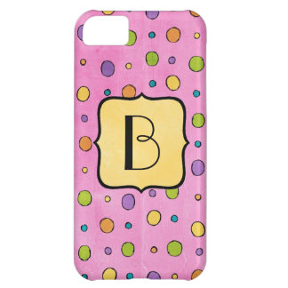 Preppy Polka Dots Monogram Phone Cover Case For iPhone 5C