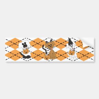 Preppy Puppy Halloween Bumper Sticker