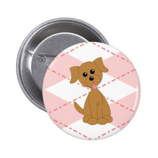 Preppy Puppy Pinback Button
