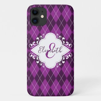 Preppy Purple Argyle Decorative Frame Monogrammed Case-Mate iPhone Case