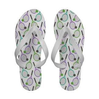 Preppy Purple Green Teal Tennis Pattern Sandals