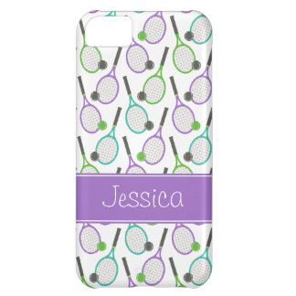Preppy Purple Green Teal Tennis Personalized Cover For iPhone 5C