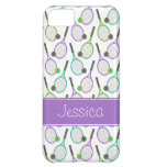 Preppy Purple Green Teal Tennis Personalized iPhone 5C Case