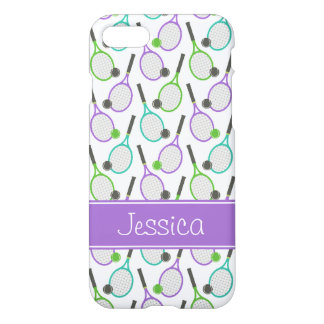 Preppy Purple Green Teal Tennis Personalized iPhone 7 Case
