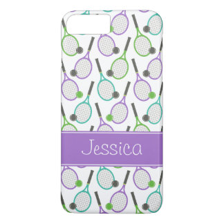 Preppy Purple Green Teal Tennis Personalized iPhone 8 Plus/7 Plus Case