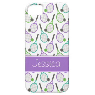 Preppy Purple Green Teal Tennis Personalized iPhone SE/5/5s Case