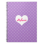Preppy Purple Polka Dot Heart Personalized Journal at Zazzle