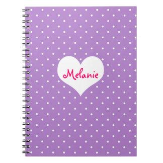 Preppy purple polka dot heart personalized journal