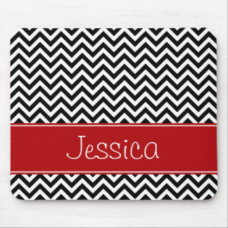 Preppy Red and Black Chevron Zigzag Personalized Mouse Pad