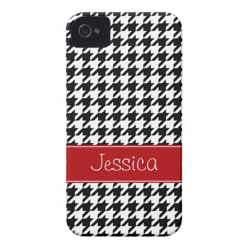 Preppy Red and Black Houndstooth Personalized iPhone 4 Cases