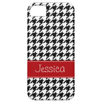 Preppy Red and Black Houndstooth Personalized iPhone 5 Cover