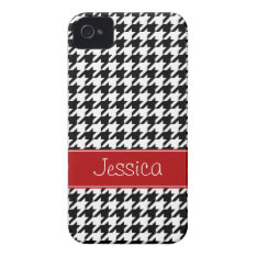 Preppy Red and Black Houndstooth Personalized iPhone 4 Case-Mate Case at Zazzle