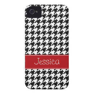 Preppy Red and Black Houndstooth Personalized iPhone 4 Case-Mate Case