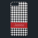 "Preppy Red and Black Houndstooth Personalized iPhone 8 Plus/7 Plus Case<br><div class=""desc"">A preppy red and black houndstooth pattern is featured on this iPhone case. Easily personalize with your name!</div>"