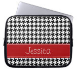 Preppy Red and Black Houndstooth Personalized Computer Sleeves