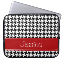Preppy Red and Black Houndstooth Personalized Laptop Sleeve