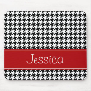 Preppy Red and Black Houndstooth Personalized Mouse Pad