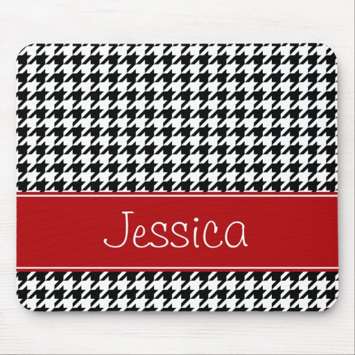 Preppy Red and Black Houndstooth Personalized Mousepad