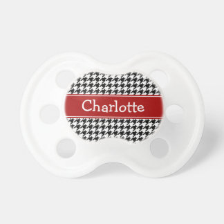 Preppy Red and Black Houndstooth Personalized Pacifier