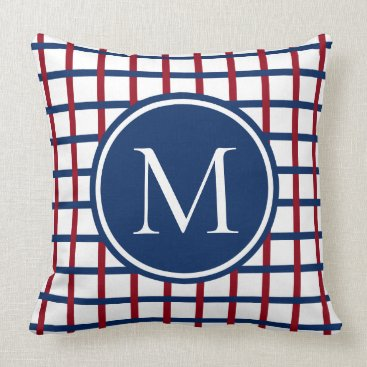 Beach Themed Preppy Red and Navy Blue Plaid Monogram Throw Pillow