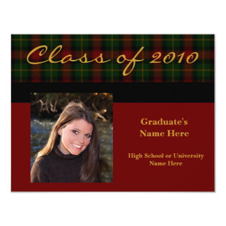 Preppy Red Tartan Plaid 2010Graduation Invitation