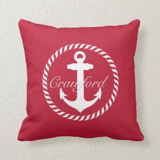 Preppy Red & White Nautical Anchor Monogram Throw Pillow