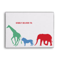 Preppy Safari Animal Birthday Party Lined Envelope