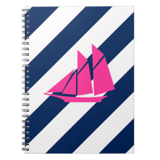 Preppy Sails in Hot Pink Notebook
