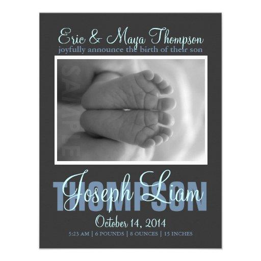 Preppy Script Photo Baby Boy Birth Announcement