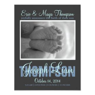 """Preppy Script Photo Baby Boy Birth Announcement 4.25"""" X 5.5"""" Invitation Card"""