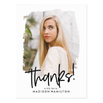 Preppy Script | Photo Graduation Thank You Postcard
