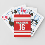 Preppy Sporty Red with White Stripes Team Jersey Bicycle Playing Cards