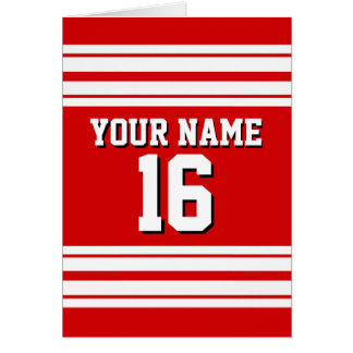 Preppy Sporty Red with White Stripes Team Jersey Card