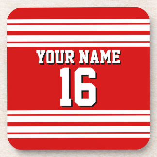 Preppy Sporty Red with White Stripes Team Jersey Coaster