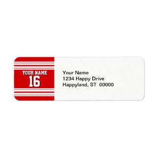 Preppy Sporty Red with White Stripes Team Jersey Label