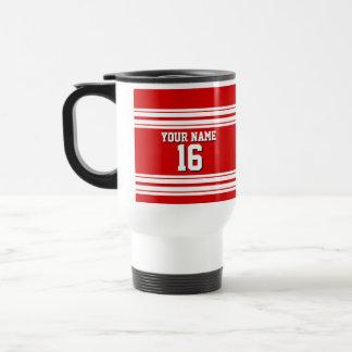 Preppy Sporty Red with White Stripes Team Jersey Travel Mug