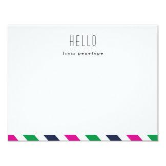 Preppy stripe hello notecard | Flat notecard