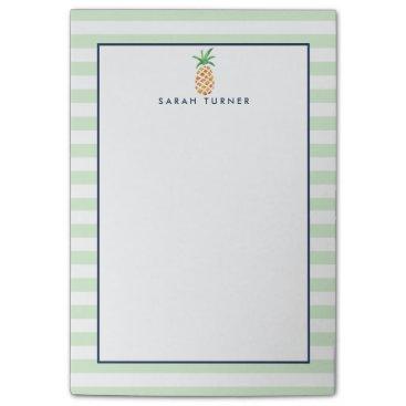 RedwoodAndVine Preppy Stripe Pineapple Personalized Post-it Notes