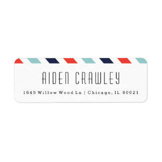 Preppy stripe return address labels