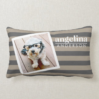 Preppy Striped Pattern Custom Name and Photo Pillow